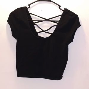 Forever 21 Black Crop Top SIZE: Large